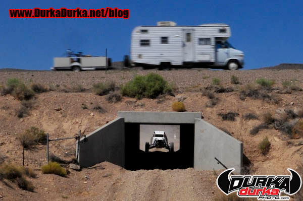 Todd Elam enters the tunnel as an RV passes above on Highway 95