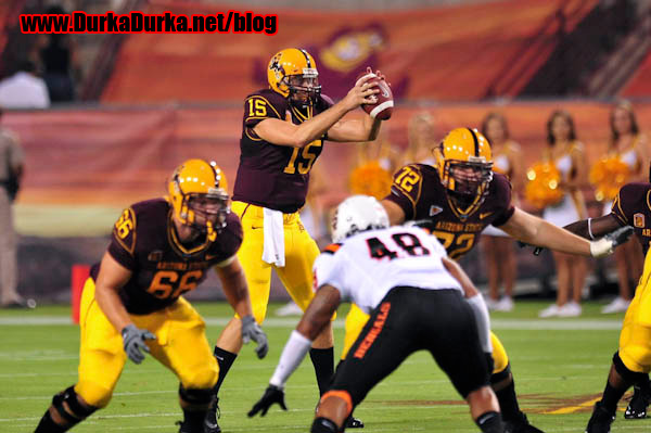 ASU QB Danny Sullivan takes the first snap of the game.