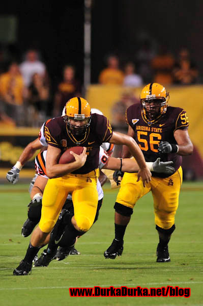 ASU QB Danny Sullivan makes a run upfield.