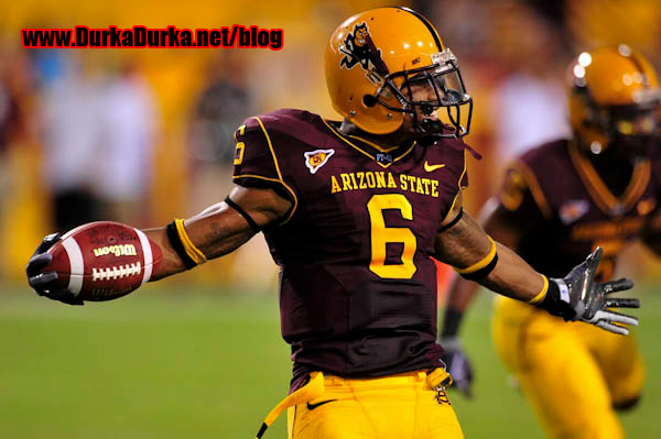 ASU WR Kyle Williams celebrates after scoring a touchdown.