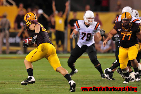 ASU LB Mike Nixon makes an interception and runs it back for a touchdown.