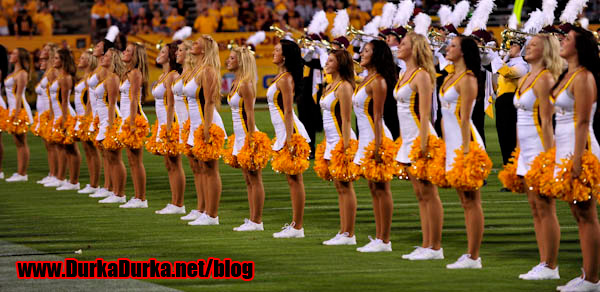 The ASU Cheerleaders perform before the game.