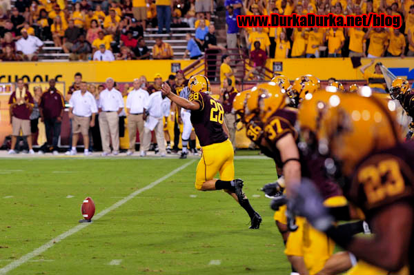 ASU kicker THomas WEbber (28) kicksoff after an ASU score.