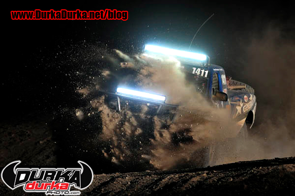 Georege Rosenbaum stuffs his truck into the hole at Race Mile 40.