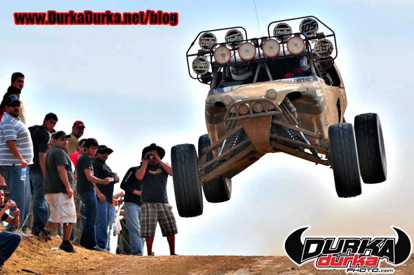 Dlae Ebberts jumps at Ojos at the 2008 Baja 1000.