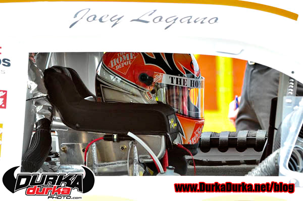 Joey Logano gets ready for practice.