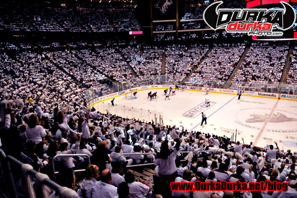 Fans wear white for the Welcome Back Whiteout at Jobing.com Arena.