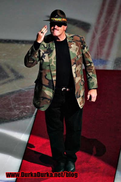 Professional Wrestler Sgt. Slaughter!  Yes, that is a camo blazer maggot!
