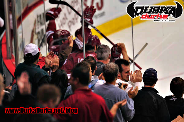Coyotes fans cheer after a goal.