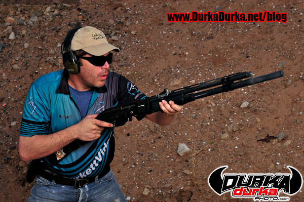 Matt Burkett prepares to start a Bill Drill with 12ga slugs.