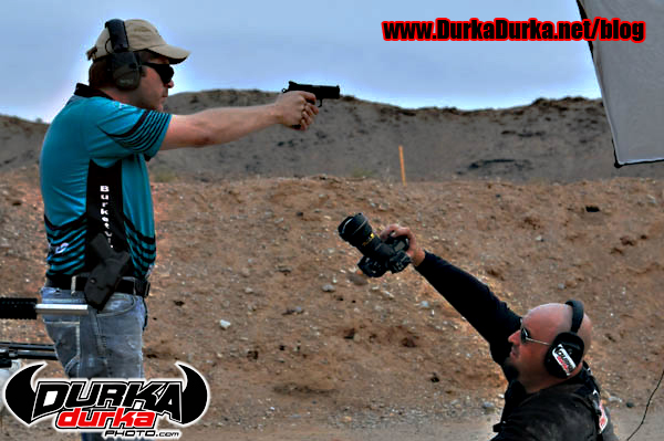 Me shooting Matt up close.  Photo by Elana Zakoff.